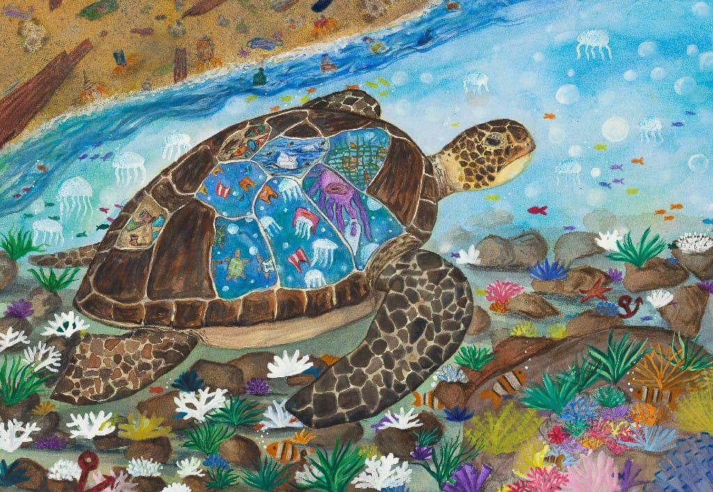 孩子眼中的世界氣候變遷 守護海洋繪畫作品原稿高雄展出